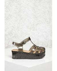Forever 21 - Metallic Glitter Jelly Platform Sandals - Lyst
