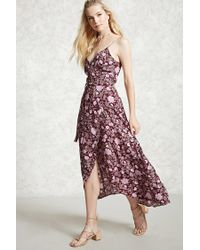 Forever 21 - Pink Contemporary Floral Wrap Dress - Lyst