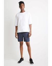 Forever 21 - Blue Mineral Wash Drawstring Shorts for Men - Lyst