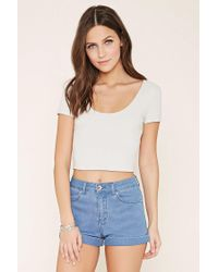 Forever 21 - White Lace-up Crop Top - Lyst