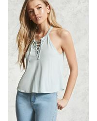 Forever 21   Multicolor Lace-up Cami   Lyst