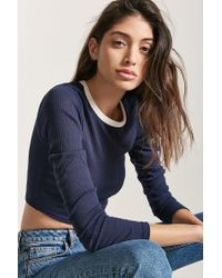 Forever 21 Blue Contrast Ribbed Crop Top