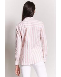 Forever 21 Pink High-low Striped Shirt
