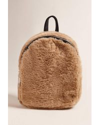 Lyst - Forever 21 Faux Fur Mini Zip Backpack in Brown 5acd713ddef9e
