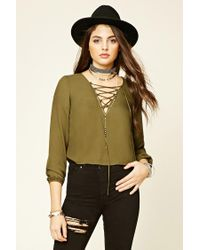 Forever 21 - Green V-neck Lace-up Blouse - Lyst