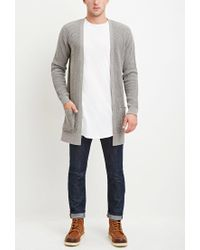 Forever 21 - Gray Waffle Knit Cardigan for Men - Lyst