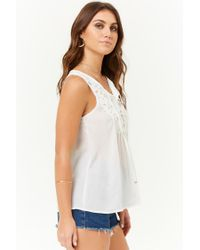 Forever 21 - White Crochet Lace Trim Top - Lyst