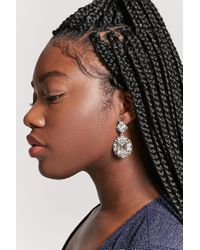 Forever 21 - Metallic Cutout Rhinestone Drop Earrings - Lyst