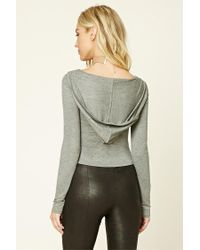 Forever 21 - Gray Heathered Knit Hoodie Top - Lyst
