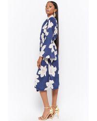 Forever 21 - Blue Longline Floral Print Jacket - Lyst