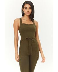 Forever 21 - Green Women's Twill Drawstring Jumpsuit - Lyst