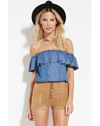 Forever 21 - Brown Lace-up Faux Suede Shorts - Lyst