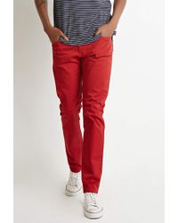 Forever 21 - Red Classic Twill Pants for Men - Lyst