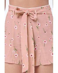 Forever 21 - Pink Floral Belted Shorts - Lyst