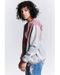 Forever 21 - Gray Coated Mesh-panel Jacket - Lyst