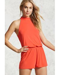 Forever 21 - Red Sleeveless Mock Neck Romper - Lyst