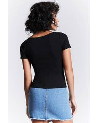 Forever 21 - Black Ribbed Faux-wrap Top - Lyst