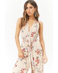 Forever 21 - Multicolor Crinkled Floral Surplice Tie-front Jumpsuit - Lyst