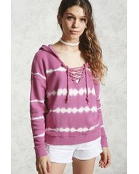 Forever 21 - Pink Lace-up Tie-dye Hoodie - Lyst