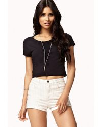 Forever 21 - Pink Striped Denim Shorts - Lyst