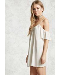 Forever 21 - Natural Crinkled Open-shoulder Dress - Lyst