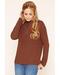 Forever 21 | Brown Ribbed Knit Sweater | Lyst