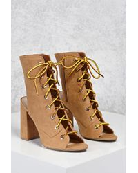 Forever 21 - Brown Lace-up Open-toe Boots - Lyst