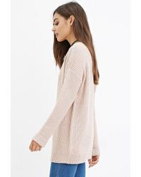 Forever 21 - Pink Longline Chunky Knit Sweater - Lyst