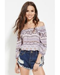Forever 21 | Purple Ornate-striped Print Top | Lyst