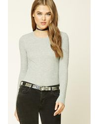 Forever 21 | Gray Waffle Knit Crew Neck Top | Lyst