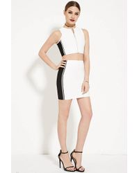 Forever 21 - White Colorblocked Bodycon Skirt - Lyst