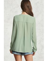 Forever 21 - Green Sheer Buttoned Blouse - Lyst