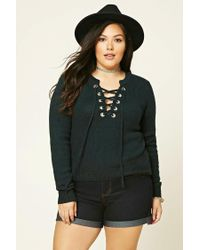 Forever 21 | Green Plus Size Lace-up Sweater | Lyst