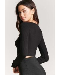 Forever 21 - Black Strappy Ribbed Knit Crop Top - Lyst