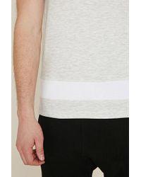 Forever 21 - White 's Marled Panel Tee Shirt for Men - Lyst