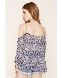 Forever 21 - Blue Ornate Open-shoulder Top - Lyst