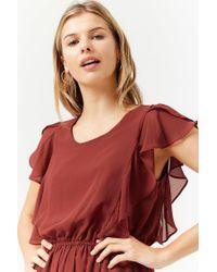 Forever 21 - Red Sheer Ruffle Chiffon Dress - Lyst