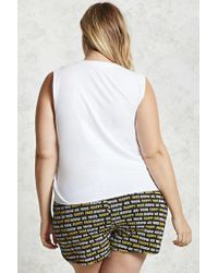 Forever 21 - Multicolor Plus Size Happy Face Pj Set - Lyst