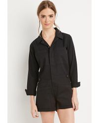 Forever 21 - Black Buttoned Utility Romper - Lyst