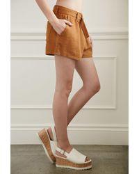 Forever 21 - Brown Belted Linen-blend Shorts - Lyst