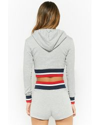 Forever 21 - Gray Heathered Stripe-trim Hoodie & Shorts Set - Lyst