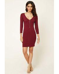 Forever 21 - Red V-neck Bodycon Dress - Lyst