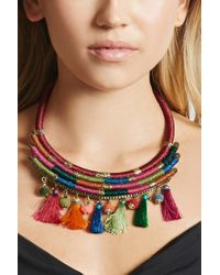 Forever 21 | Multicolor Stacked Tassel Necklace | Lyst