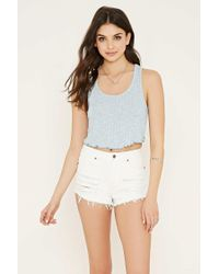 Forever 21 | Blue Ribbed Knit Crop Top | Lyst