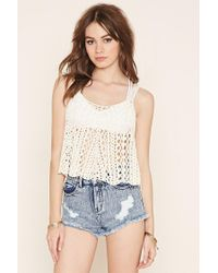 a7e2b102f19a7 Lyst - Forever 21 Open Knit Jumper Tank in Natural