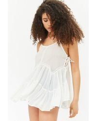 Forever 21 - Multicolor Women's Sheer Lace-up Sides Camisole Top - Lyst