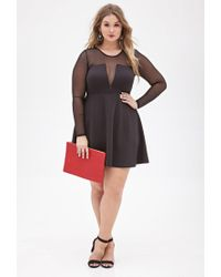 Forever 21 - Black Plus Size Mesh-paneled Fit & Flare Dress - Lyst