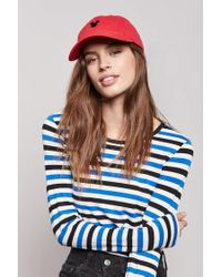 8980d1cae2411 Lyst - Forever 21 Mickey Mouse Graphic Denim Dad Cap in Red