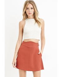 Forever 21 - Brown Contemporary Buckled A-line Skirt - Lyst