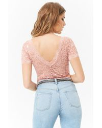 Forever 21 - Purple Scalloped Lace Bodysuit - Lyst
